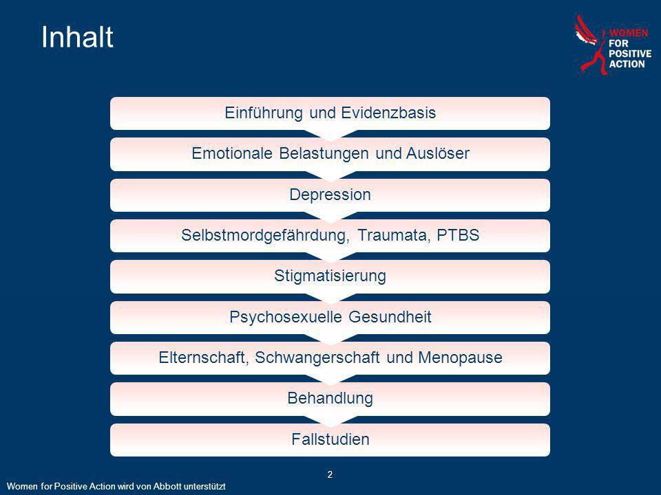 2 Inhalt Einführung und Evidenzbasis Emotionale Belastungen und Auslöser Depression Selbstmordgefährdung, Traumata, PTBS Stigmatisierung Psychosexuell