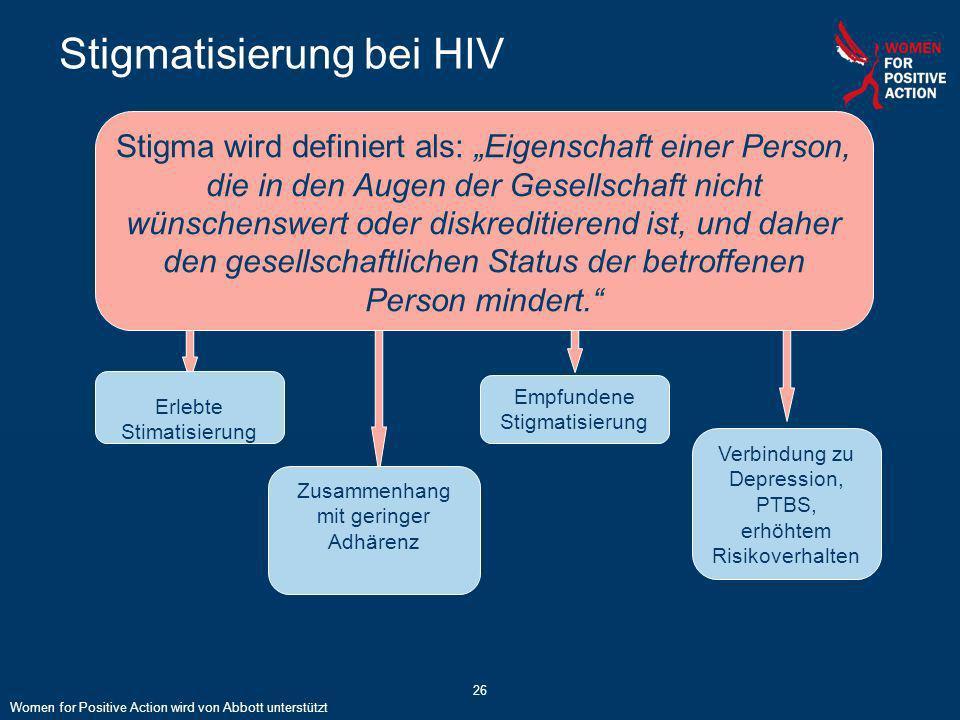 26 Stigmatisierung bei HIV Stigma wird definiert als: Eigenschaft einer Person, die in den Augen der Gesellschaft nicht wünschenswert oder diskreditie