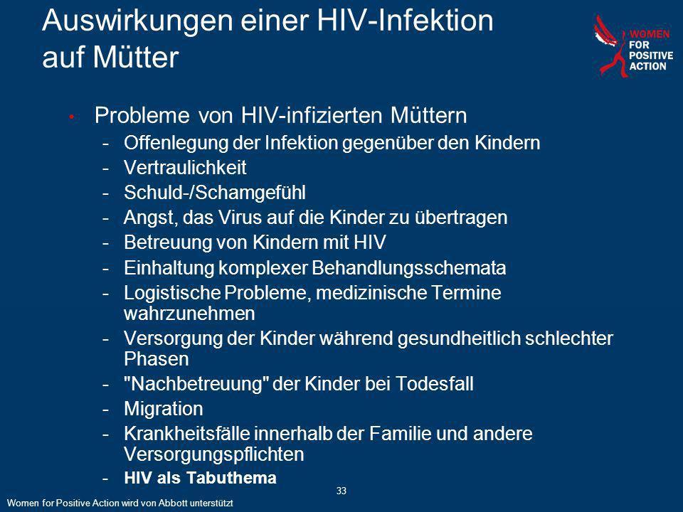 33 Auswirkungen einer HIV-Infektion auf Mütter Probleme von HIV-infizierten Müttern -Offenlegung der Infektion gegenüber den Kindern -Vertraulichkeit