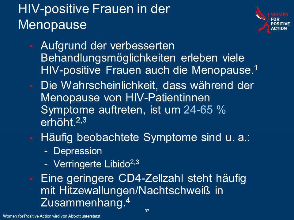 37 HIV-positive Frauen in der Menopause Aufgrund der verbesserten Behandlungsmöglichkeiten erleben viele HIV-positive Frauen auch die Menopause. 1 Die