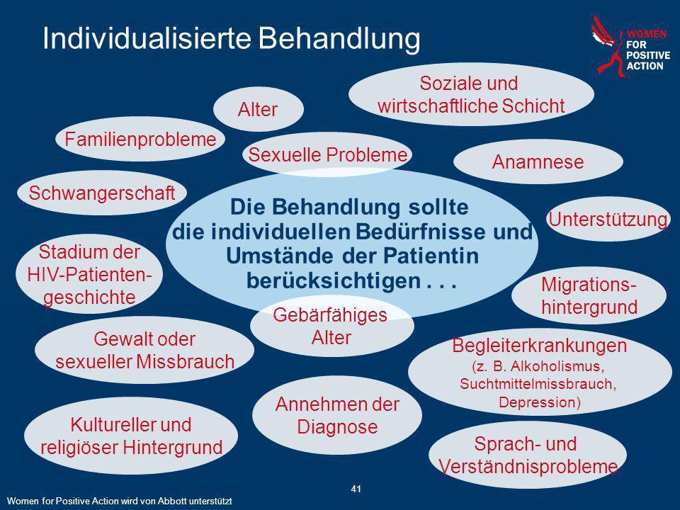 41 Individualisierte Behandlung Die Behandlung sollte die individuellen Bedürfnisse und Umstände der Patientin berücksichtigen... Kultureller und reli