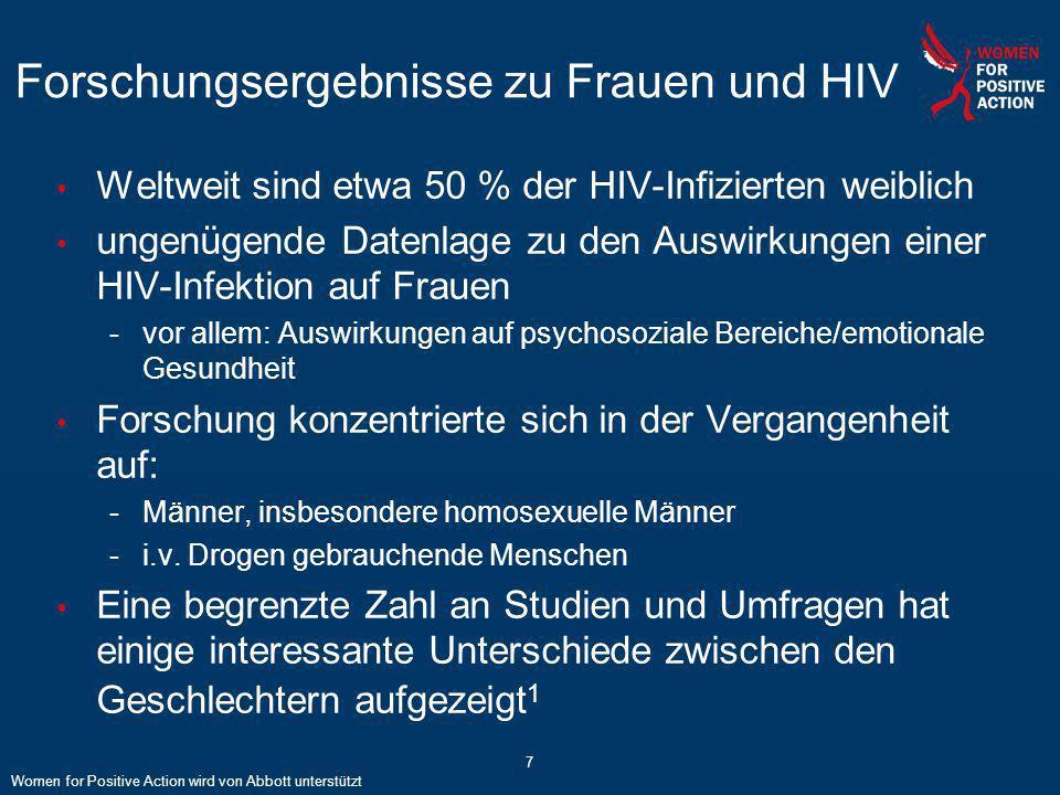 7 Forschungsergebnisse zu Frauen und HIV Weltweit sind etwa 50 % der HIV-Infizierten weiblich ungenügende Datenlage zu den Auswirkungen einer HIV-Infe