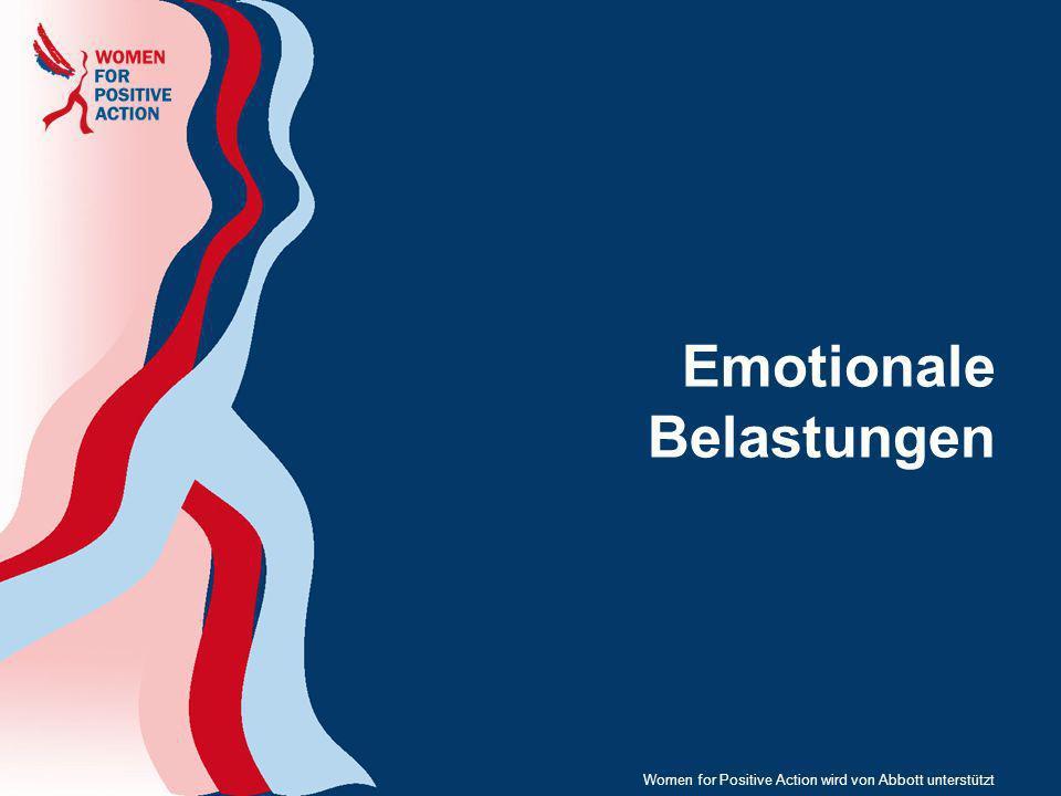 10 Herausforderungen im Leben HIV- positiver Frauen Elternschaft, Schwanger- schaft, Kinder, Verantwortung als Betreuerin Diagnose- bezogene Traumata Stigmatisie- rungsbedingte Belastung, Angst, Geheimhaltung Depression, Suizidgedanken/- versuche Beziehungen, Unabhängig- keit, Gewalt Trauer, Verlust und Schuld Risikoverhalten in sexuellen Beziehungen Altern und Menopause Belastung durch Bekanntwerden der Infektion Bewältigung, Anpassung und Ansprechen auf die Behandlung Lebensqualität (QoL) Negative Körperwahr- nehmung Women for Positive Action wird von Abbott unterstützt