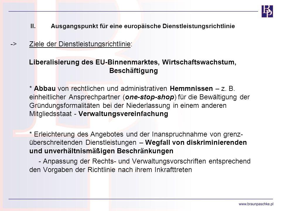 II. Ausgangspunkt für eine europäische Dienstleistungsrichtlinie ->Ziele der Dienstleistungsrichtlinie: Liberalisierung des EU-Binnenmarktes, Wirtscha