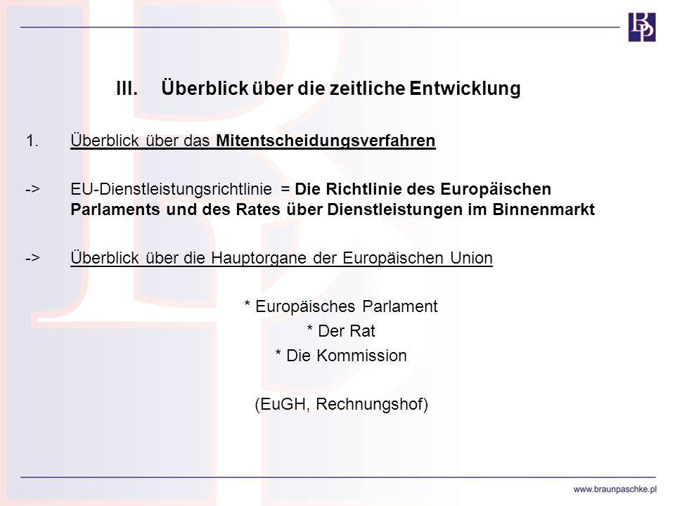 III.Überblick über die zeitliche Entwicklung 1.Überblick über das Mitentscheidungsverfahren ->EU-Dienstleistungsrichtlinie = Die Richtlinie des Europä