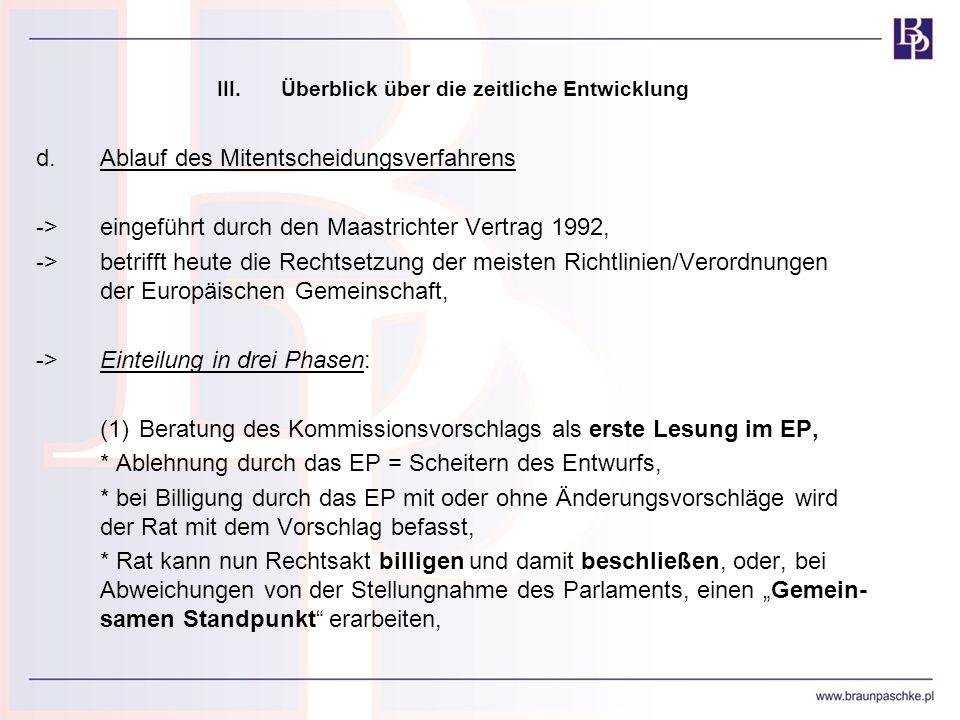 III.Überblick über die zeitliche Entwicklung d.Ablauf des Mitentscheidungsverfahrens ->eingeführt durch den Maastrichter Vertrag 1992, ->betrifft heut