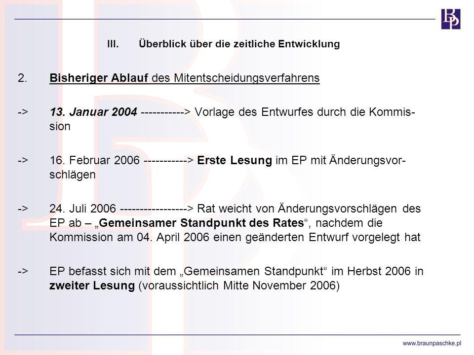 III.Überblick über die zeitliche Entwicklung 2.Bisheriger Ablauf des Mitentscheidungsverfahrens ->13. Januar 2004 -----------> Vorlage des Entwurfes d