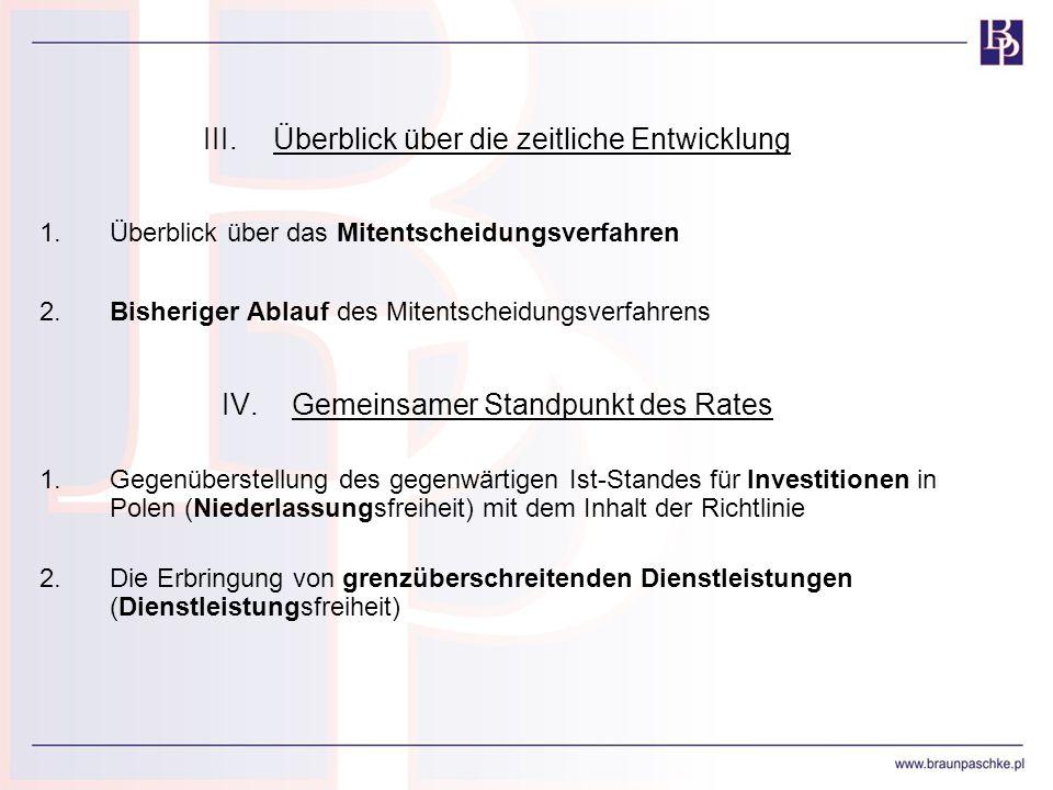III.Überblick über die zeitliche Entwicklung 1.Überblick über das Mitentscheidungsverfahren 2.Bisheriger Ablauf des Mitentscheidungsverfahrens IV.Geme