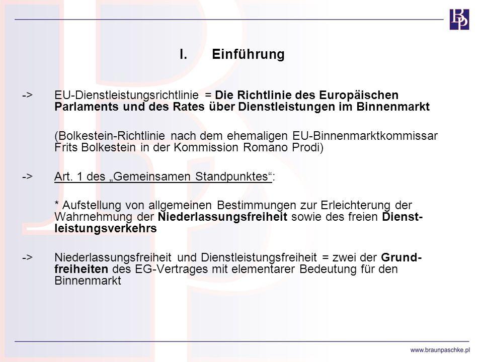 I.Einführung ->EU-Dienstleistungsrichtlinie = Die Richtlinie des Europäischen Parlaments und des Rates über Dienstleistungen im Binnenmarkt (Bolkestei