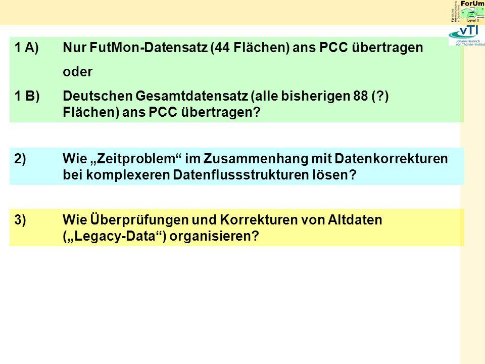 1 A) Nur FutMon-Datensatz (44 Flächen) ans PCC übertragen oder 1 B) Deutschen Gesamtdatensatz (alle bisherigen 88 (?) Flächen) ans PCC übertragen.