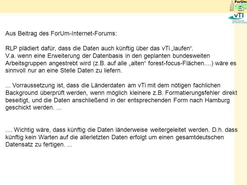 Aus Beitrag des ForUm-Internet-Forums: RLP plädiert dafür, dass die Daten auch künftig über das vTi laufen.