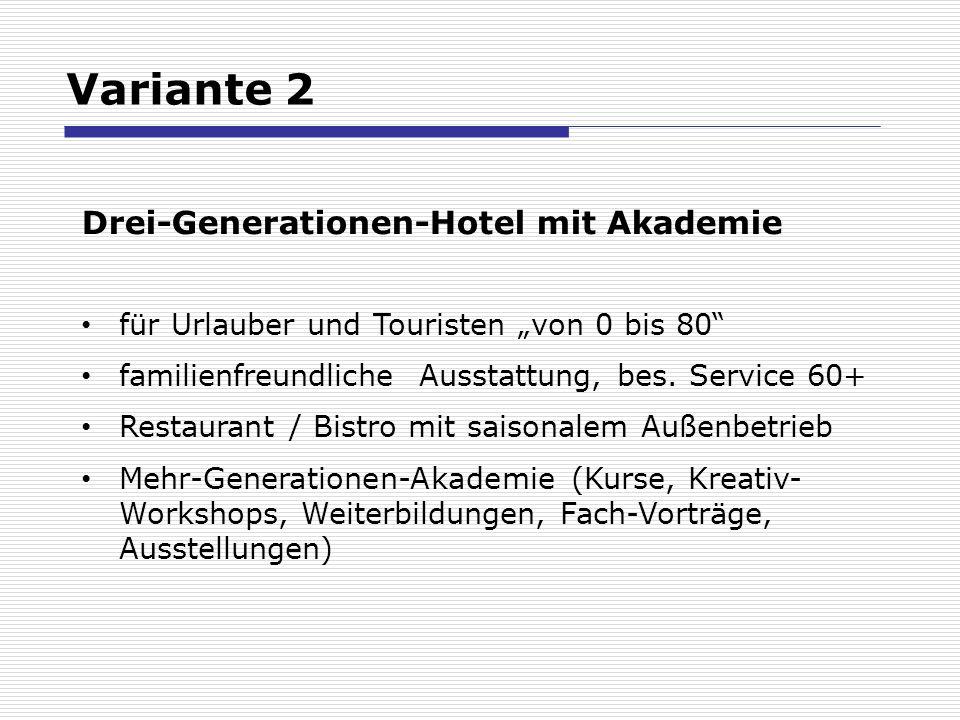 Variante 2 Drei-Generationen-Hotel mit Akademie für Urlauber und Touristen von 0 bis 80 familienfreundliche Ausstattung, bes. Service 60+ Restaurant /