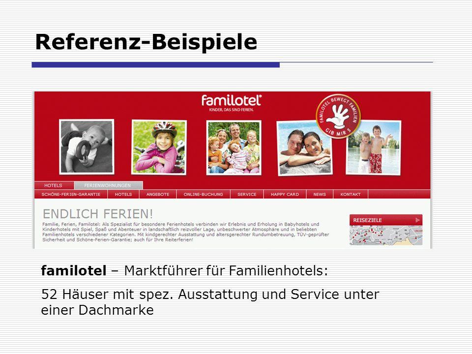Referenz-Beispiele familotel – Marktführer für Familienhotels: 52 Häuser mit spez.