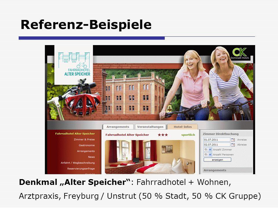 Referenz-Beispiele Denkmal Alter Speicher: Fahrradhotel + Wohnen, Arztpraxis, Freyburg / Unstrut (50 % Stadt, 50 % CK Gruppe)