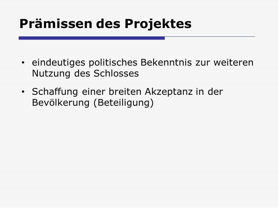 Prämissen des Projektes eindeutiges politisches Bekenntnis zur weiteren Nutzung des Schlosses Schaffung einer breiten Akzeptanz in der Bevölkerung (Beteiligung)