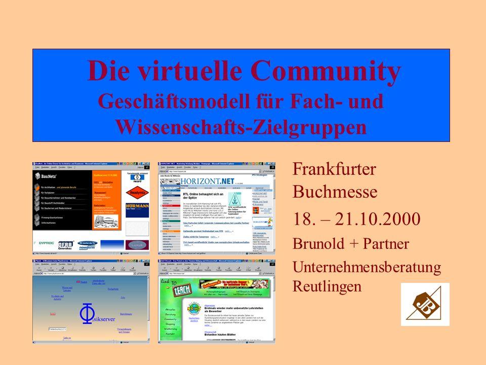 Die virtuelle Community Geschäftsmodell für Fach- und Wissenschafts-Zielgruppen Frankfurter Buchmesse 18.