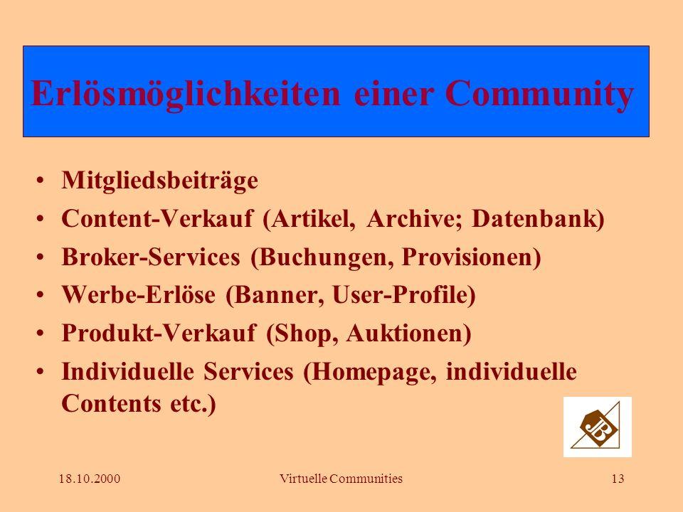 18.10.2000Virtuelle Communities12 Funktionalitäten einer Community Der Funktionalitäts-Mix bringts! Orientierung Guided Tours, Navigation, Schnellsuch