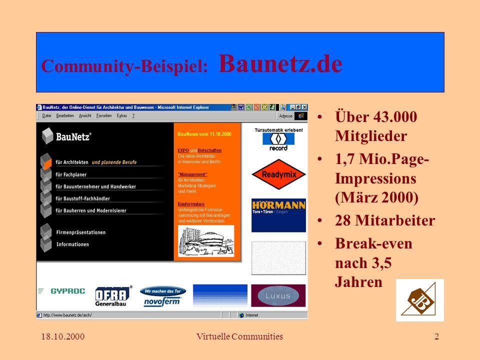 18.10.2000Virtuelle Communities2 Über 43.000 Mitglieder 1,7 Mio.Page- Impressions (März 2000) 28 Mitarbeiter Break-even nach 3,5 Jahren Community-Beispiel: Baunetz.de