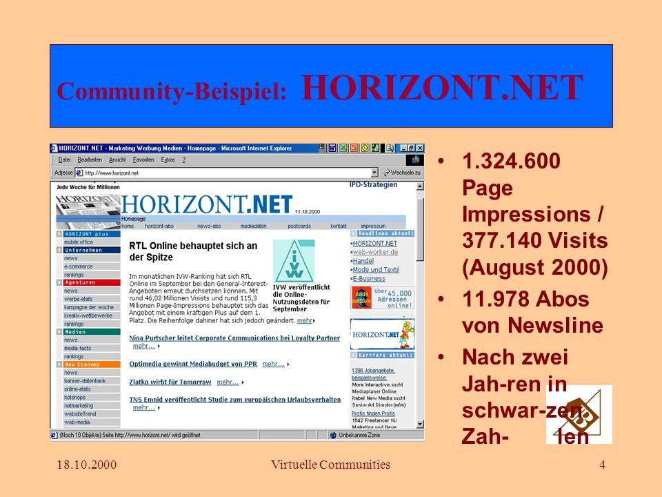 18.10.2000Virtuelle Communities14 Ausbauschritte einer Community Schritt 1: Start mit einem der Haupt- elemente Schritt 2: Ausbau aller Hauptelemen- te des Geschäftsmodelles Schritt 3: Die Firmen-Community rückt in den Mittelpunkt Schritt 4: Die Cyber- Community wird organisiert
