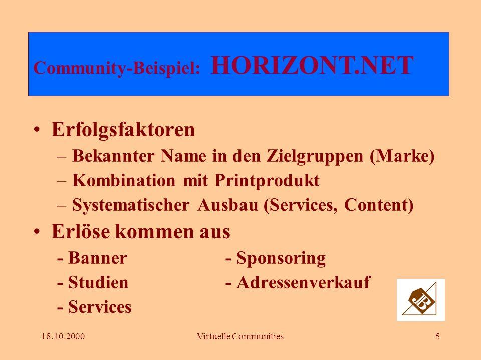 18.10.2000Virtuelle Communities4 1.324.600 Page Impressions / 377.140 Visits (August 2000) 11.978 Abos von Newsline Nach zwei Jah-ren in schwar-zen Zah- len Community-Beispiel: HORIZONT.NET