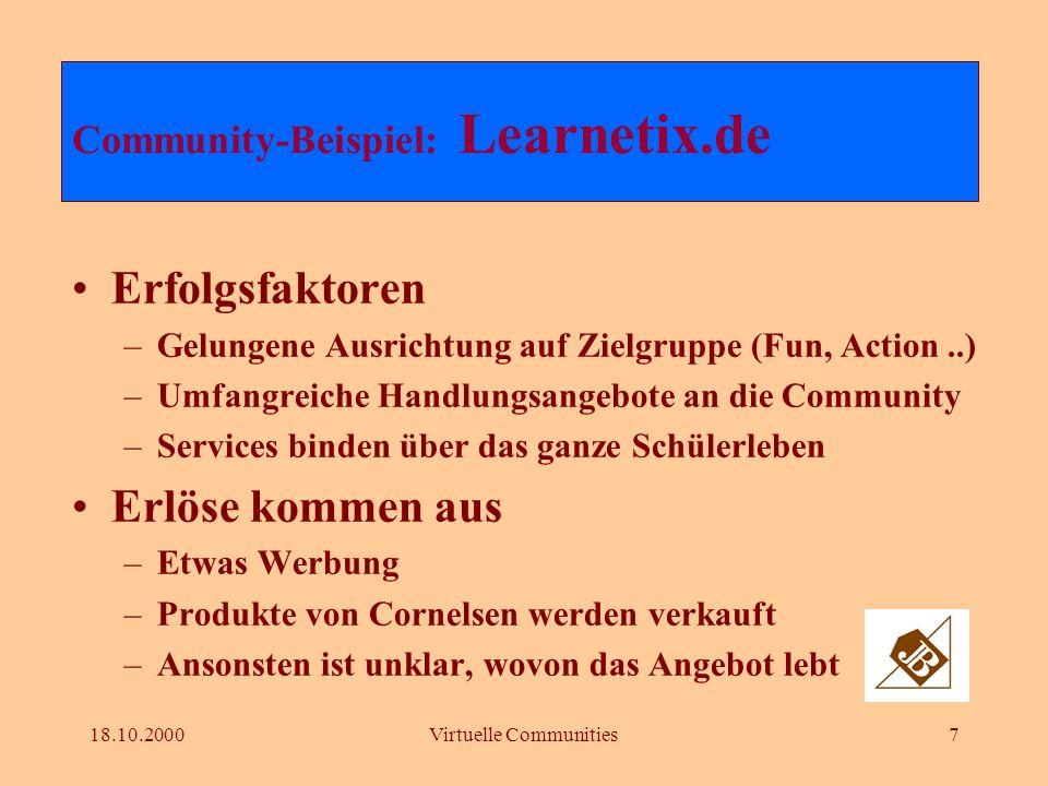 18.10.2000Virtuelle Communities6 Dutzende von Foren Je Forum zum Teil mehrere tausend Teilnehmer User erzeugen Content selbst Community-Beispiel: Lear