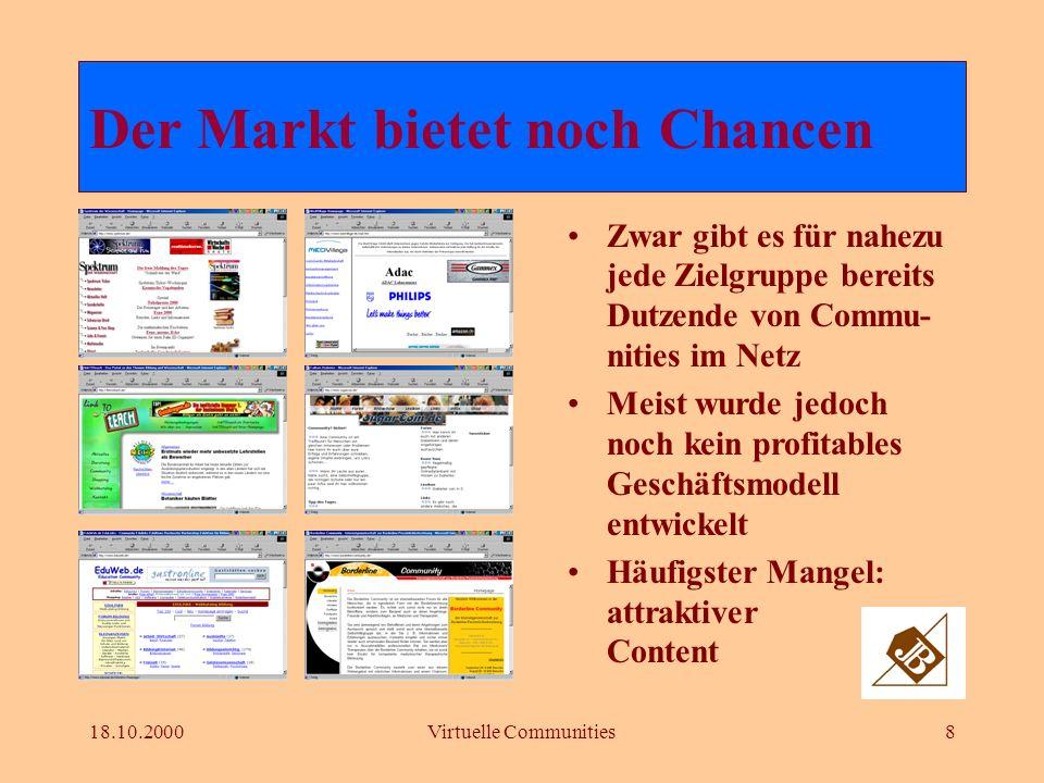 18.10.2000Virtuelle Communities8 Zwar gibt es für nahezu jede Zielgruppe bereits Dutzende von Commu- nities im Netz Meist wurde jedoch noch kein profitables Geschäftsmodell entwickelt Häufigster Mangel: attraktiver Content Der Markt bietet noch Chancen