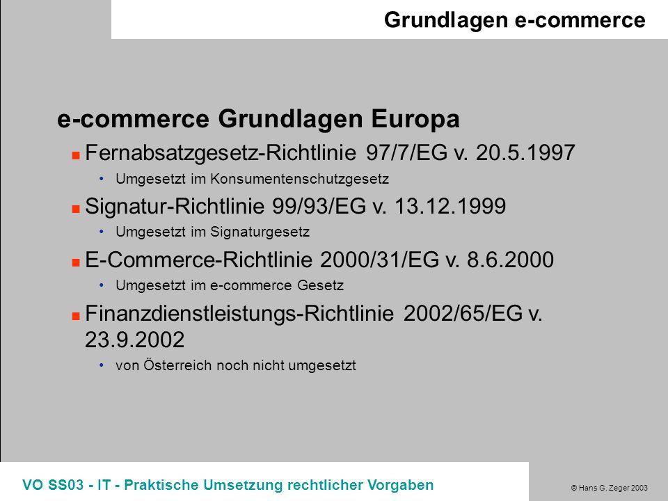 © Hans G. Zeger 2003 VO SS03 - IT - Praktische Umsetzung rechtlicher Vorgaben Grundlagen e-commerce e-commerce Grundlagen Europa Fernabsatzgesetz-Rich