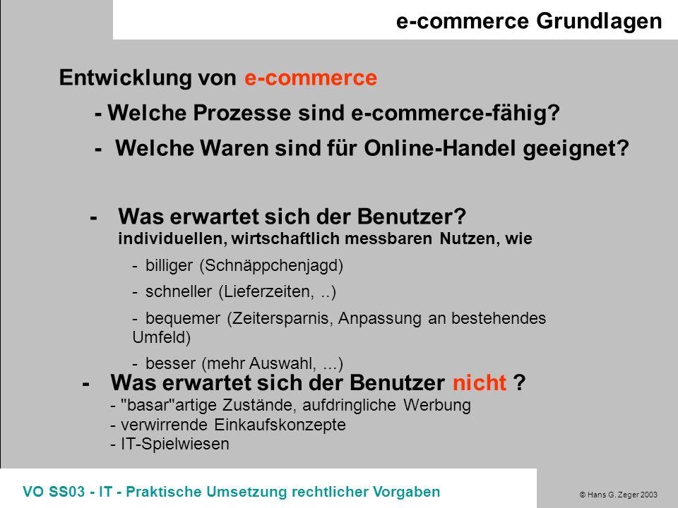 © Hans G. Zeger 2003 VO SS03 - IT - Praktische Umsetzung rechtlicher Vorgaben e-commerce Grundlagen Entwicklung von e-commerce - Welche Prozesse sind