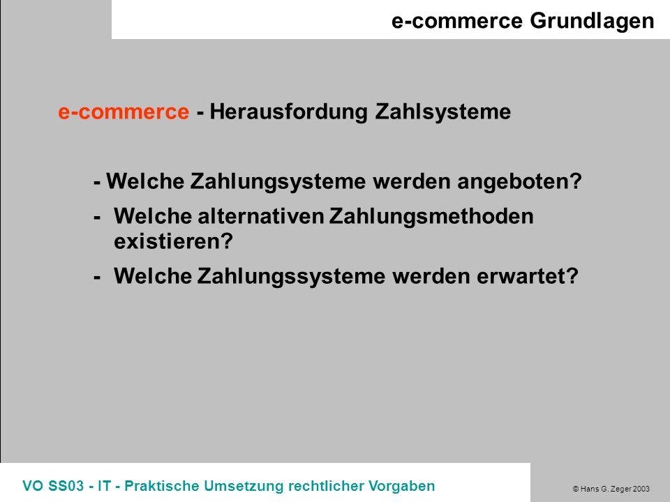 © Hans G. Zeger 2003 VO SS03 - IT - Praktische Umsetzung rechtlicher Vorgaben e-commerce Grundlagen e-commerce - Herausfordung Zahlsysteme - Welche Za