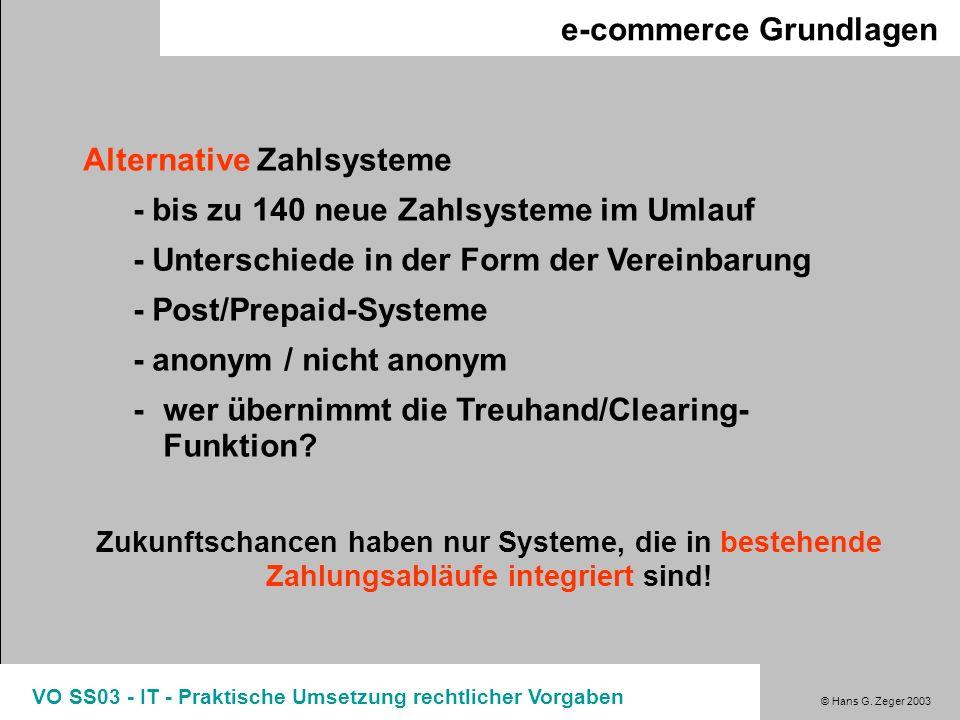 © Hans G. Zeger 2003 VO SS03 - IT - Praktische Umsetzung rechtlicher Vorgaben e-commerce Grundlagen Alternative Zahlsysteme - bis zu 140 neue Zahlsyst