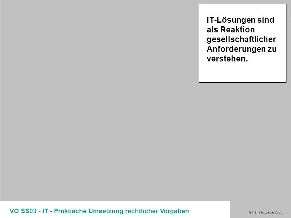 © Hans G. Zeger 2003 VO SS03 - IT - Praktische Umsetzung rechtlicher Vorgaben IT-Lösungen sind als Reaktion gesellschaftlicher Anforderungen zu verste