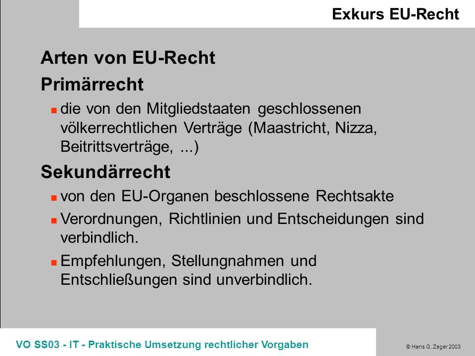 © Hans G. Zeger 2003 VO SS03 - IT - Praktische Umsetzung rechtlicher Vorgaben Exkurs EU-Recht Arten von EU-Recht Primärrecht die von den Mitgliedstaat