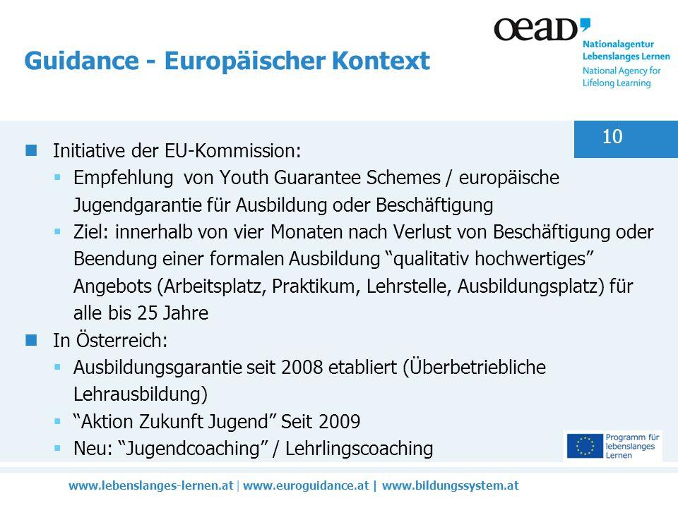 www.lebenslanges-lernen.at | www.euroguidance.at | www.bildungssystem.at 10 Guidance - Europäischer Kontext Initiative der EU-Kommission: Empfehlung von Youth Guarantee Schemes / europäische Jugendgarantie für Ausbildung oder Beschäftigung Ziel: innerhalb von vier Monaten nach Verlust von Beschäftigung oder Beendung einer formalen Ausbildung qualitativ hochwertiges Angebots (Arbeitsplatz, Praktikum, Lehrstelle, Ausbildungsplatz) für alle bis 25 Jahre In Österreich: Ausbildungsgarantie seit 2008 etabliert (Überbetriebliche Lehrausbildung) Aktion Zukunft Jugend Seit 2009 Neu: Jugendcoaching / Lehrlingscoaching