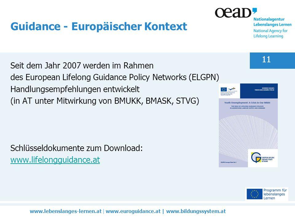www.lebenslanges-lernen.at | www.euroguidance.at | www.bildungssystem.at 11 Guidance - Europäischer Kontext Seit dem Jahr 2007 werden im Rahmen des European Lifelong Guidance Policy Networks (ELGPN) Handlungsempfehlungen entwickelt (in AT unter Mitwirkung von BMUKK, BMASK, STVG) Schlüsseldokumente zum Download: www.lifelongguidance.at