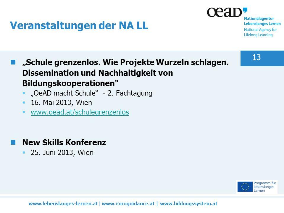 www.lebenslanges-lernen.at | www.euroguidance.at | www.bildungssystem.at 13 Veranstaltungen der NA LL Schule grenzenlos.