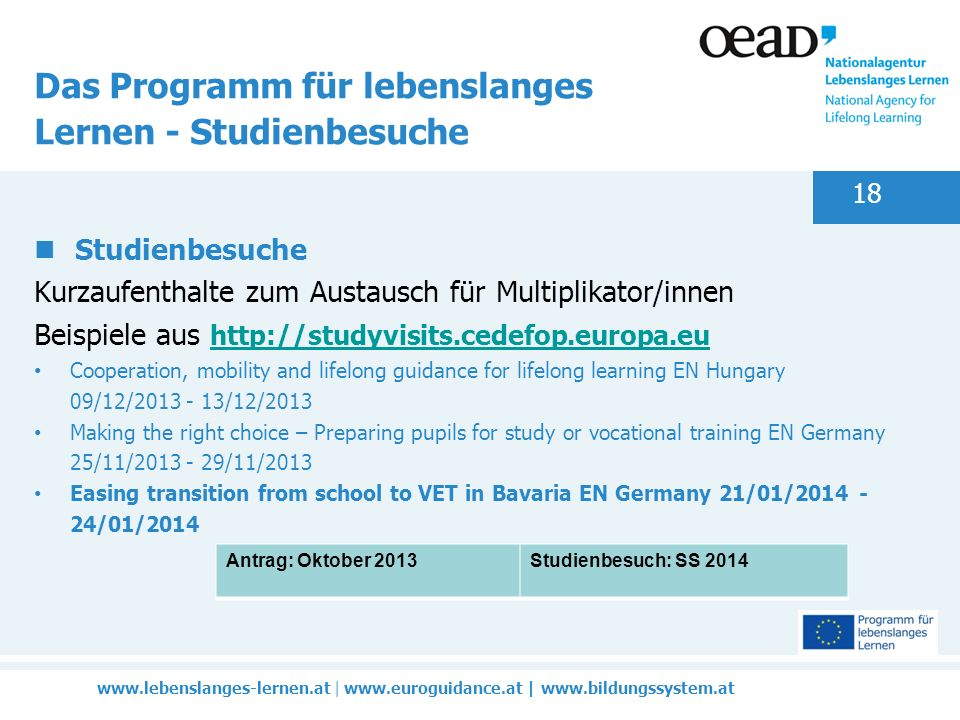 |   |   18 Das Programm für lebenslanges Lernen - Studienbesuche Studienbesuche Kurzaufenthalte zum Austausch für Multiplikator/innen Beispiele aus     Cooperation, mobility and lifelong guidance for lifelong learning EN Hungary 09/12/ /12/2013 Making the right choice – Preparing pupils for study or vocational training EN Germany 25/11/ /11/2013 Easing transition from school to VET in Bavaria EN Germany 21/01/ /01/2014 Antrag: Oktober 2013Studienbesuch: SS 2014