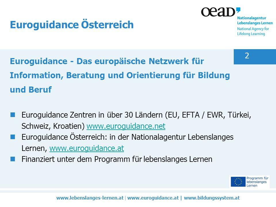 www.lebenslanges-lernen.at | www.euroguidance.at | www.bildungssystem.at 2 Euroguidance Österreich Euroguidance - Das europäische Netzwerk für Information, Beratung und Orientierung für Bildung und Beruf Euroguidance Zentren in über 30 Ländern (EU, EFTA / EWR, Türkei, Schweiz, Kroatien) www.euroguidance.netwww.euroguidance.net Euroguidance Österreich: in der Nationalagentur Lebenslanges Lernen, www.euroguidance.atwww.euroguidance.at Finanziert unter dem Programm für lebenslanges Lernen