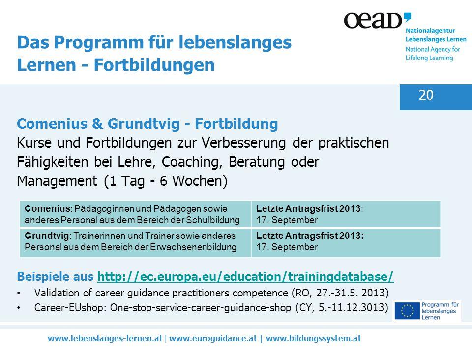 www.lebenslanges-lernen.at | www.euroguidance.at | www.bildungssystem.at 20 Das Programm für lebenslanges Lernen - Fortbildungen Comenius & Grundtvig - Fortbildung Kurse und Fortbildungen zur Verbesserung der praktischen Fähigkeiten bei Lehre, Coaching, Beratung oder Management (1 Tag - 6 Wochen) Beispiele aus http://ec.europa.eu/education/trainingdatabase/http://ec.europa.eu/education/trainingdatabase/ Validation of career guidance practitioners competence (RO, 27.-31.5.