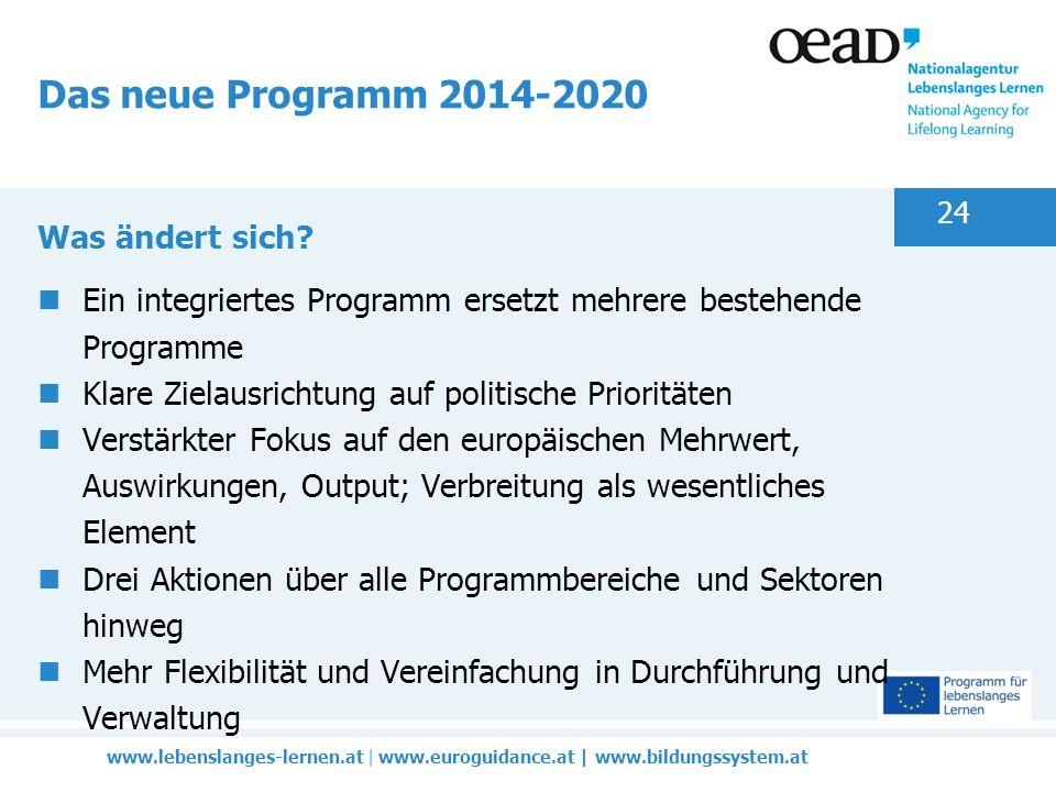 www.lebenslanges-lernen.at | www.euroguidance.at | www.bildungssystem.at 24 Das neue Programm 2014-2020 Was ändert sich.