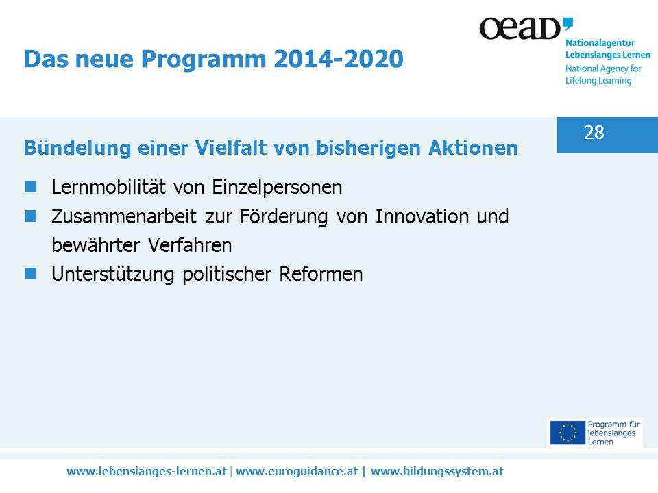 www.lebenslanges-lernen.at | www.euroguidance.at | www.bildungssystem.at 28 Das neue Programm 2014-2020 Bündelung einer Vielfalt von bisherigen Aktionen Lernmobilität von Einzelpersonen Zusammenarbeit zur Förderung von Innovation und bewährter Verfahren Unterstützung politischer Reformen