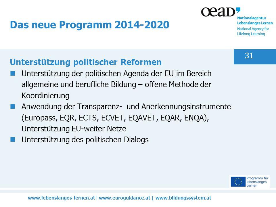 www.lebenslanges-lernen.at | www.euroguidance.at | www.bildungssystem.at 31 Das neue Programm 2014-2020 Unterstützung politischer Reformen Unterstützung der politischen Agenda der EU im Bereich allgemeine und berufliche Bildung – offene Methode der Koordinierung Anwendung der Transparenz- und Anerkennungsinstrumente (Europass, EQR, ECTS, ECVET, EQAVET, EQAR, ENQA), Unterstützung EU-weiter Netze Unterstützung des politischen Dialogs