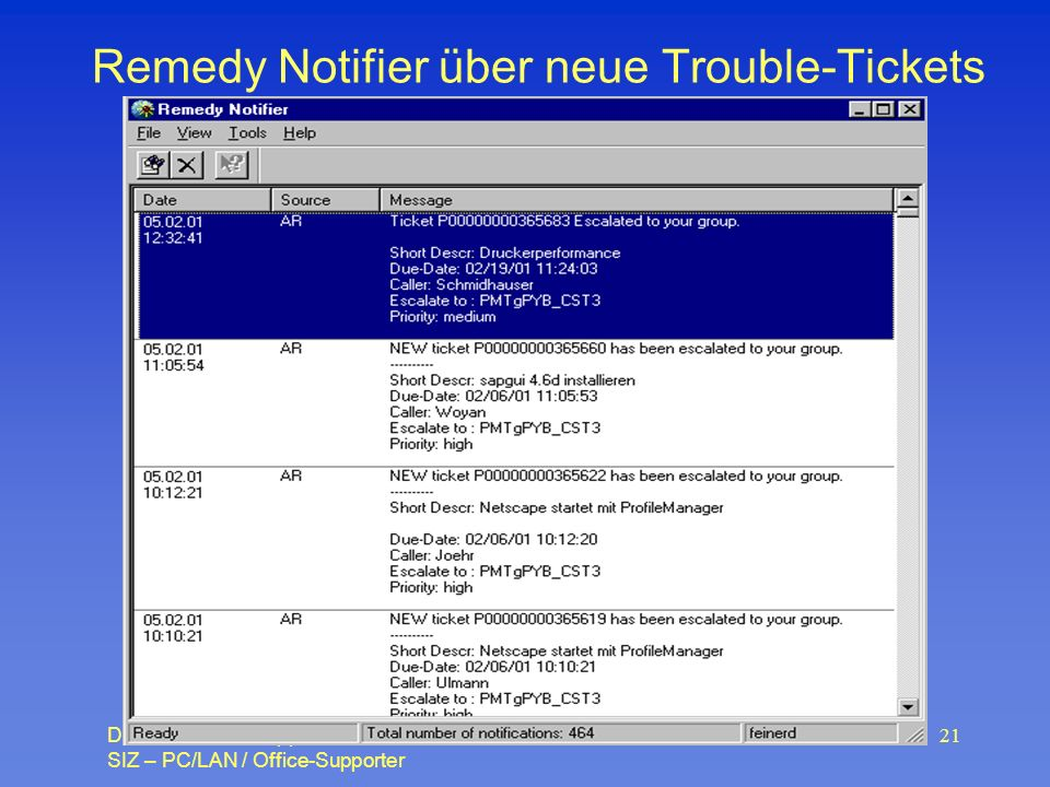 Daniel Feiner – Support SIZ – PC/LAN / Office-Supporter 21 Remedy Notifier über neue Trouble-Tickets