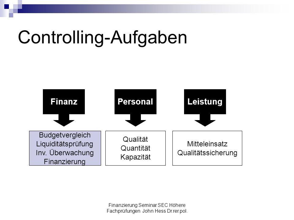 Finanzierung Seminar SEC Höhere Fachprüfungen John Hess Dr.rer.pol. Controlling-Aufgaben FinanzPersonalLeistung Budgetvergleich Liquiditätsprüfung Inv