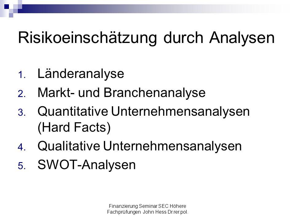 Finanzierung Seminar SEC Höhere Fachprüfungen John Hess Dr.rer.pol. Risikoeinschätzung durch Analysen 1. Länderanalyse 2. Markt- und Branchenanalyse 3