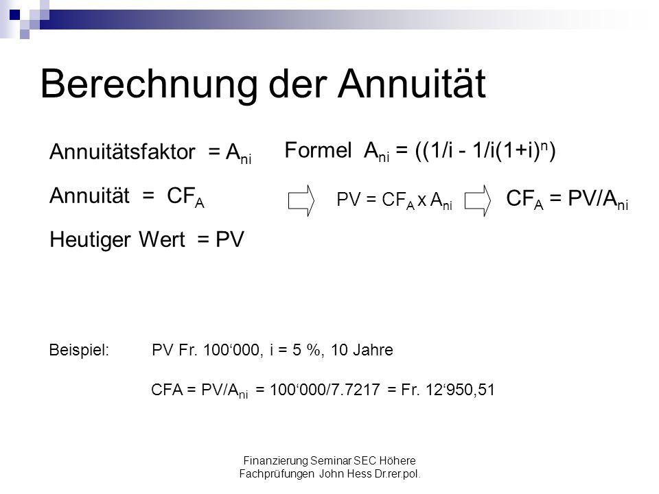 Finanzierung Seminar SEC Höhere Fachprüfungen John Hess Dr.rer.pol. Berechnung der Annuität Annuitätsfaktor = A ni Annuität = CF A Heutiger Wert = PV