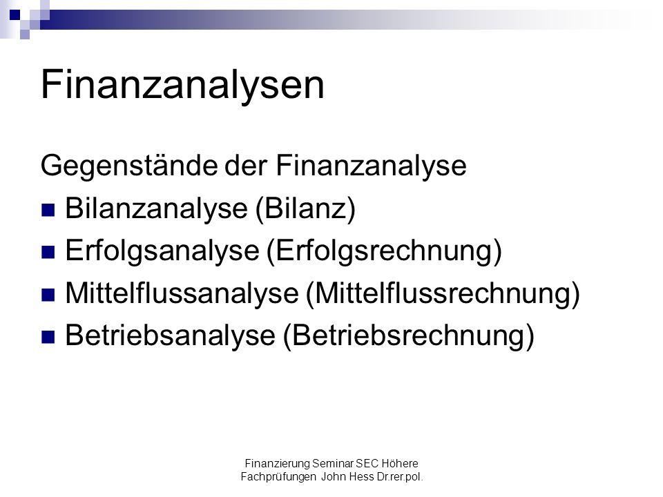 Finanzierung Seminar SEC Höhere Fachprüfungen John Hess Dr.rer.pol. Finanzanalysen Gegenstände der Finanzanalyse Bilanzanalyse (Bilanz) Erfolgsanalyse