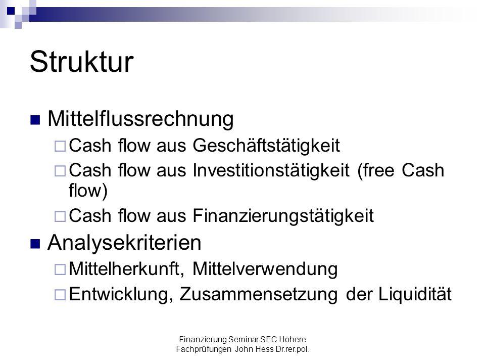Finanzierung Seminar SEC Höhere Fachprüfungen John Hess Dr.rer.pol. Struktur Mittelflussrechnung Cash flow aus Geschäftstätigkeit Cash flow aus Invest