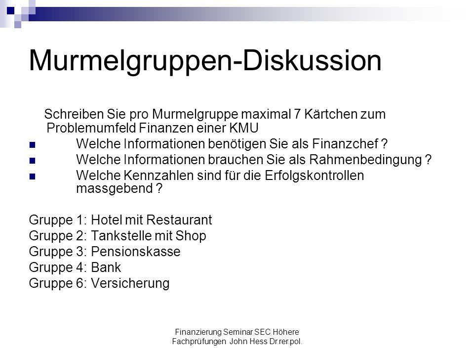 Finanzierung Seminar SEC Höhere Fachprüfungen John Hess Dr.rer.pol. Murmelgruppen-Diskussion Schreiben Sie pro Murmelgruppe maximal 7 Kärtchen zum Pro