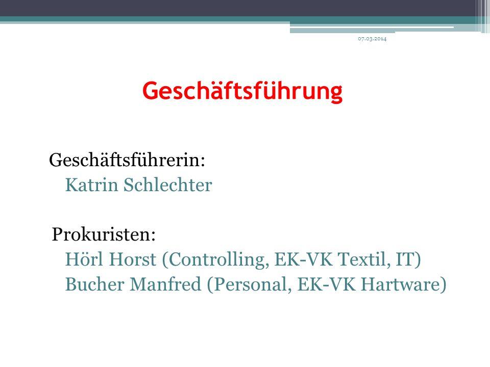 Geschäftsführung Geschäftsführerin: Katrin Schlechter Prokuristen: Hörl Horst (Controlling, EK-VK Textil, IT) Bucher Manfred (Personal, EK-VK Hartware