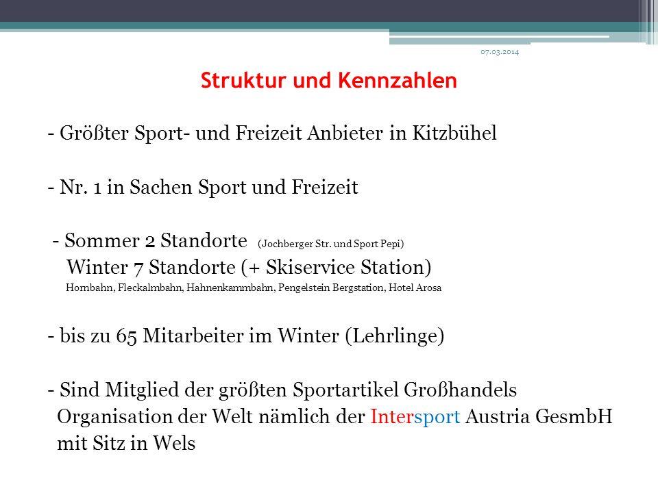 Struktur und Kennzahlen - Größter Sport- und Freizeit Anbieter in Kitzbühel - Nr. 1 in Sachen Sport und Freizeit - Sommer 2 Standorte (Jochberger Str.